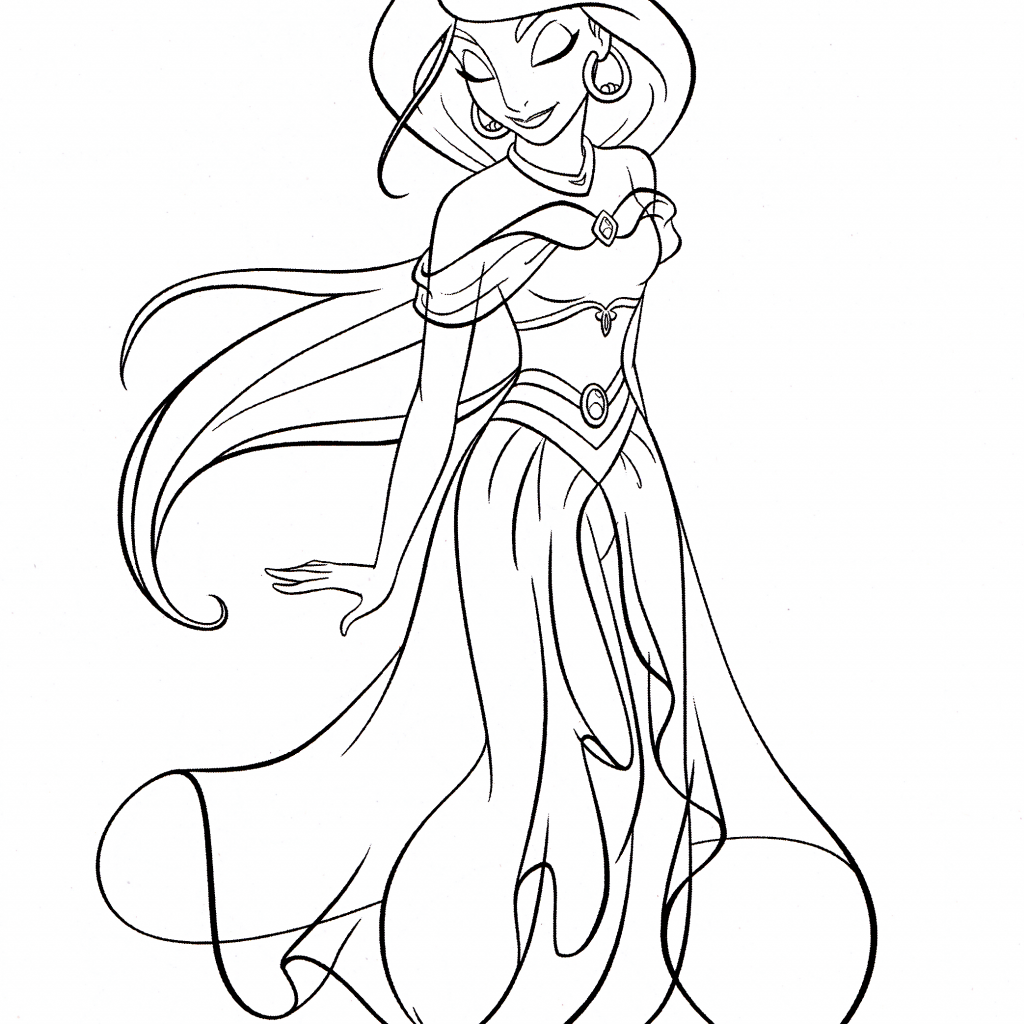 Jasmine Christmas Coloring Pages With Photo Of Walt Disney Princess For Fans