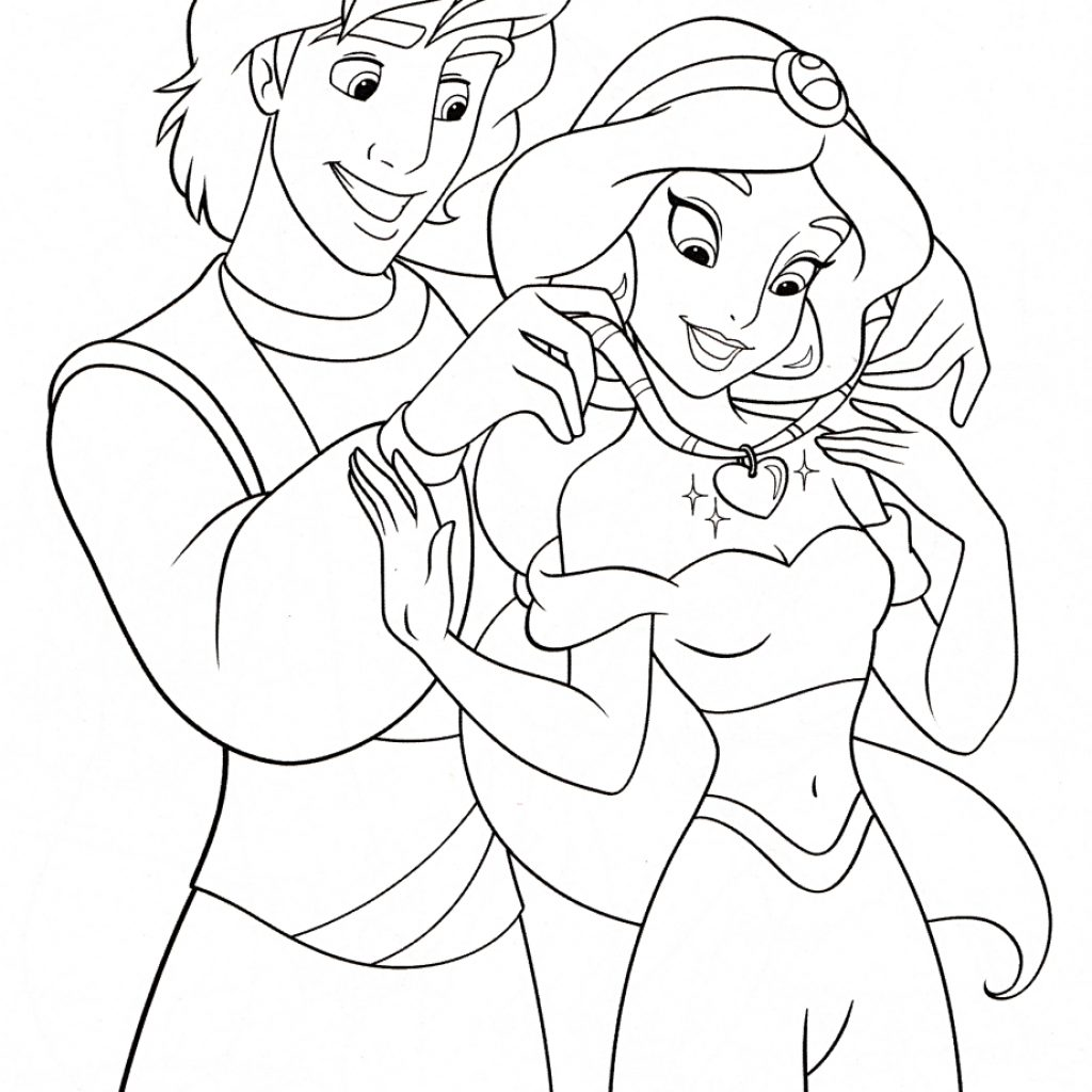 Jasmine Christmas Coloring Pages With Walt Disney Prince Aladdin Princess