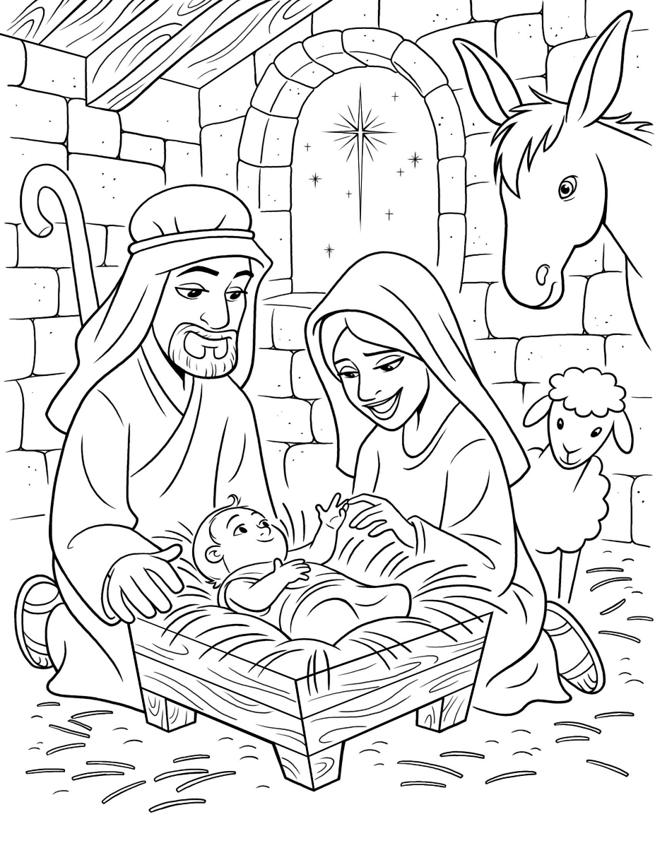 Jesus Christ Christmas Coloring Pages With Free Manger Scene Of Within Nativity