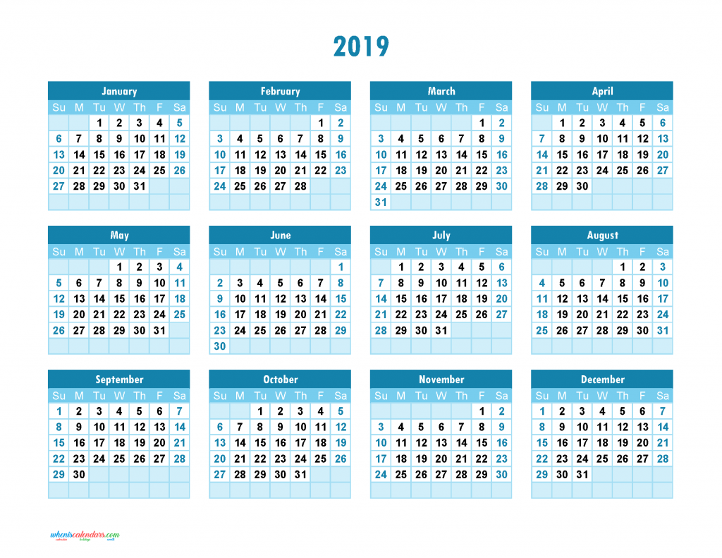 Jewish Calendar Year 2019 With Yearly Printable Full Theme