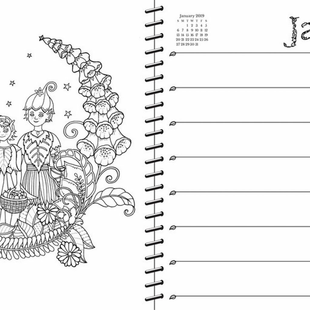 Johanna Basford 2019 Coloring Calendar With 2018 16 Month Weekly Planner