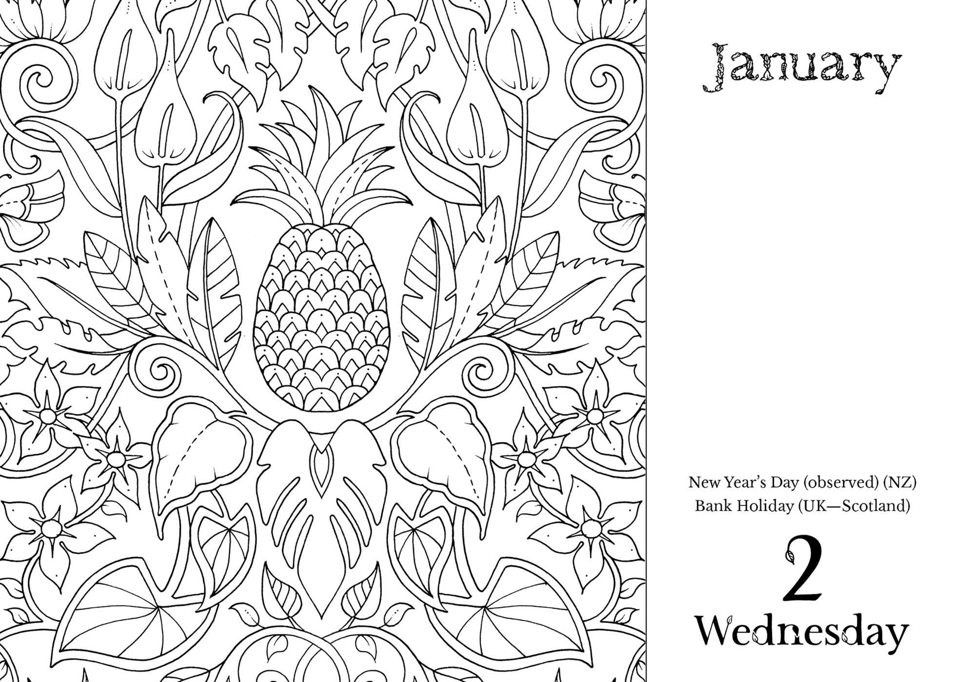 Johanna Basford 2019 Coloring Calendar With Day To