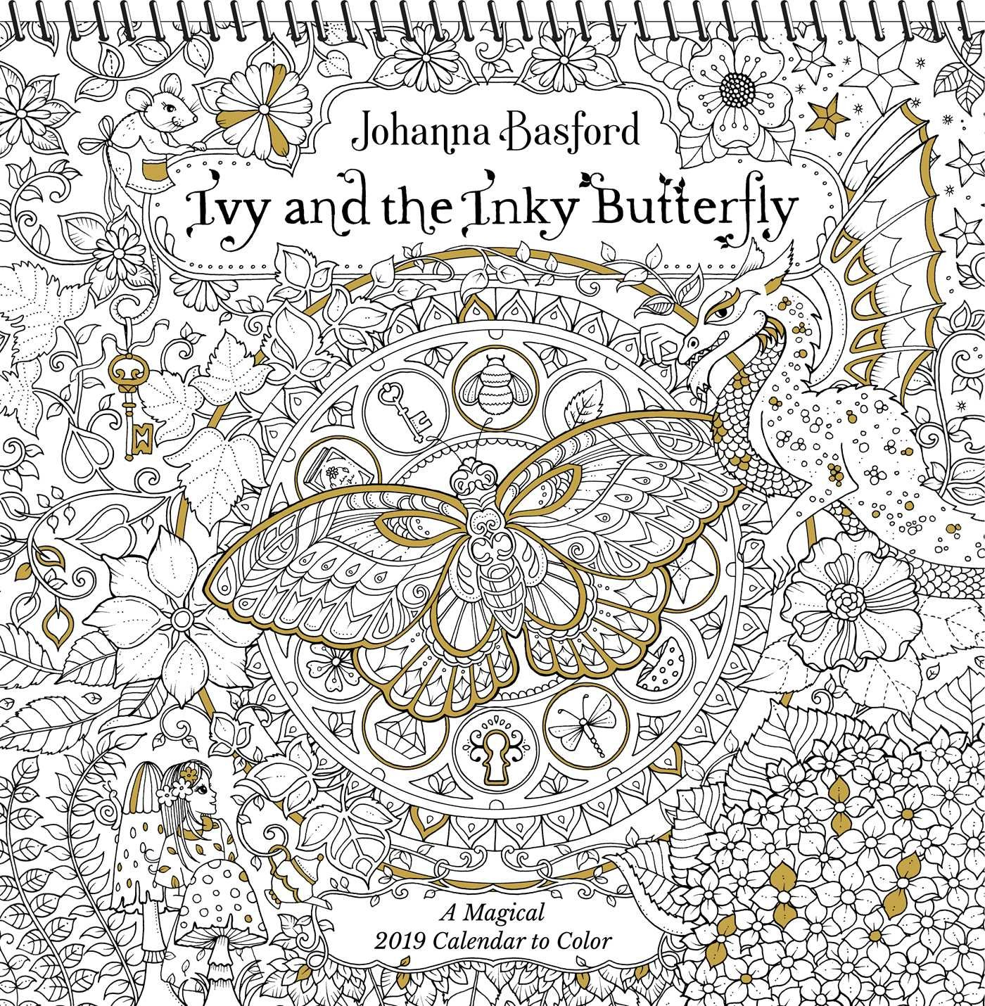 Johanna Basford 2019 Coloring Calendar With Ivy And The Inky Butterfly Wall A Magical