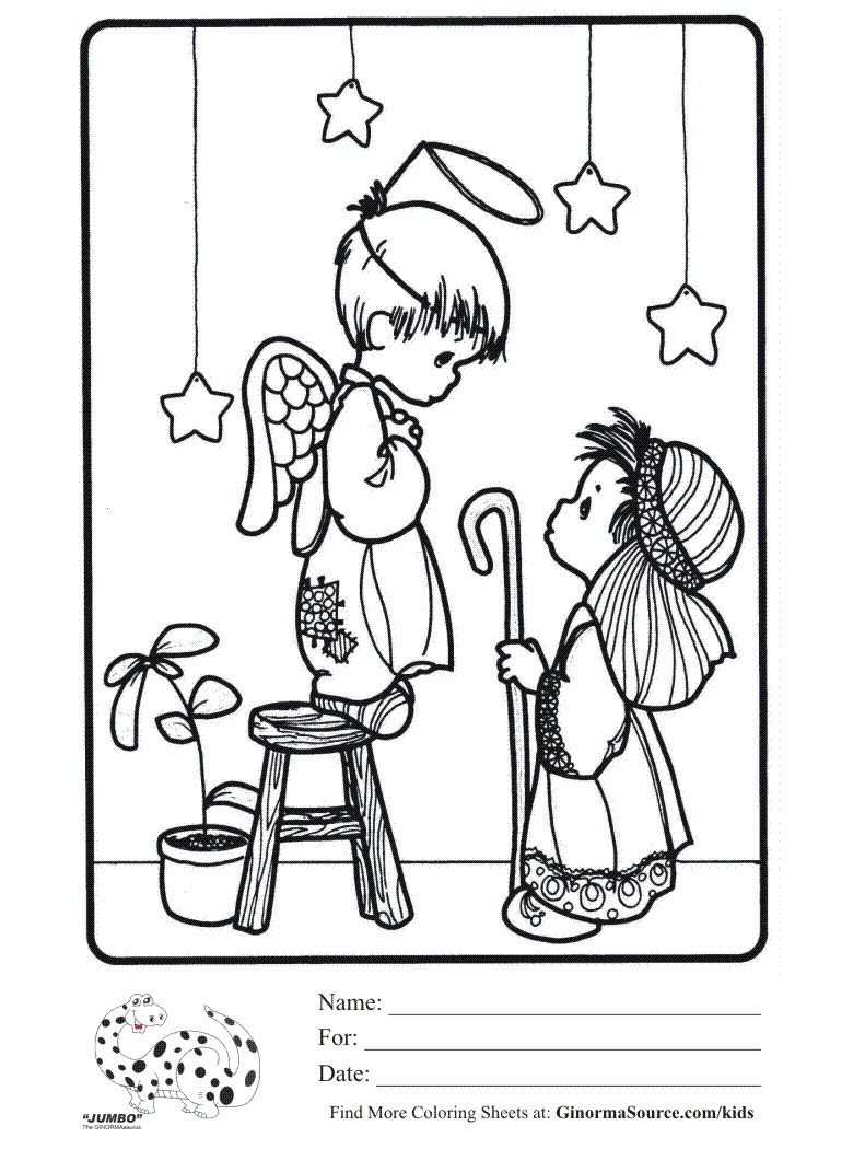 Jumbo Christmas Coloring Pages With Precious Moments Play Sheet