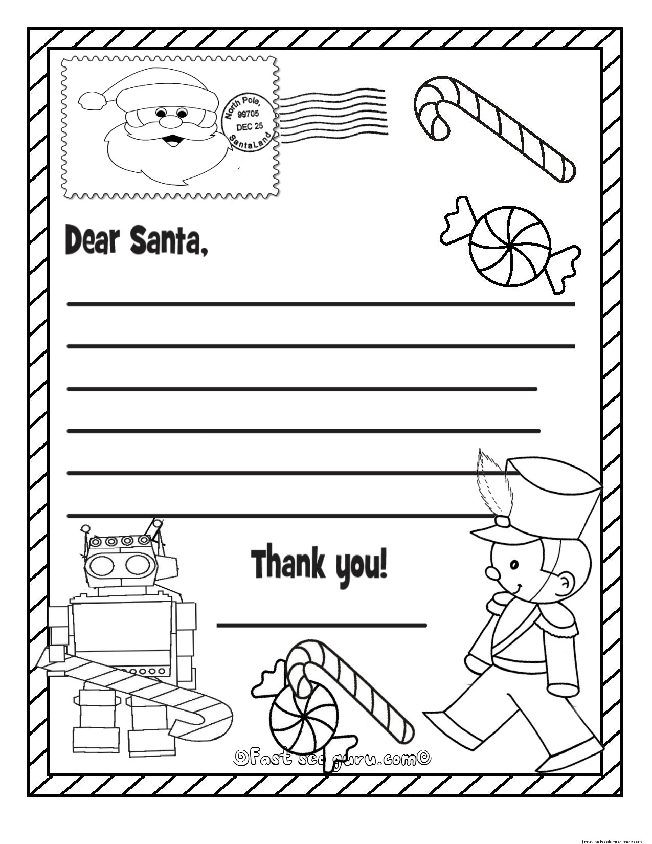 Kids Christmas Santa Claus Coloring Page Sheets With Printable Wish List To For KidsFree
