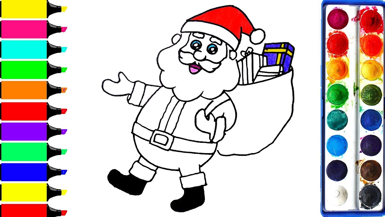 Kids Christmas Santa Claus Coloring Page With Pages Art Colors For Draw Merry