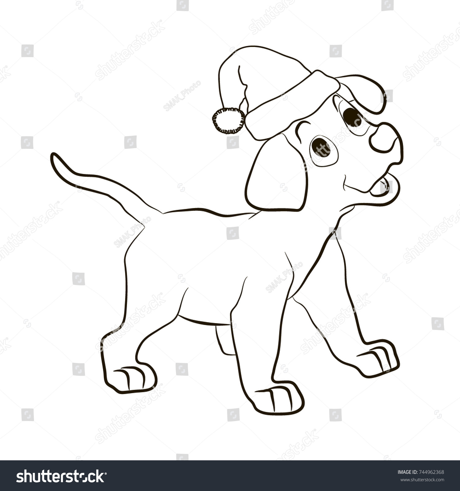 Kneeling Santa Coloring Page With Alert Famous Stocking To Color A Puppy Dog In Christmas