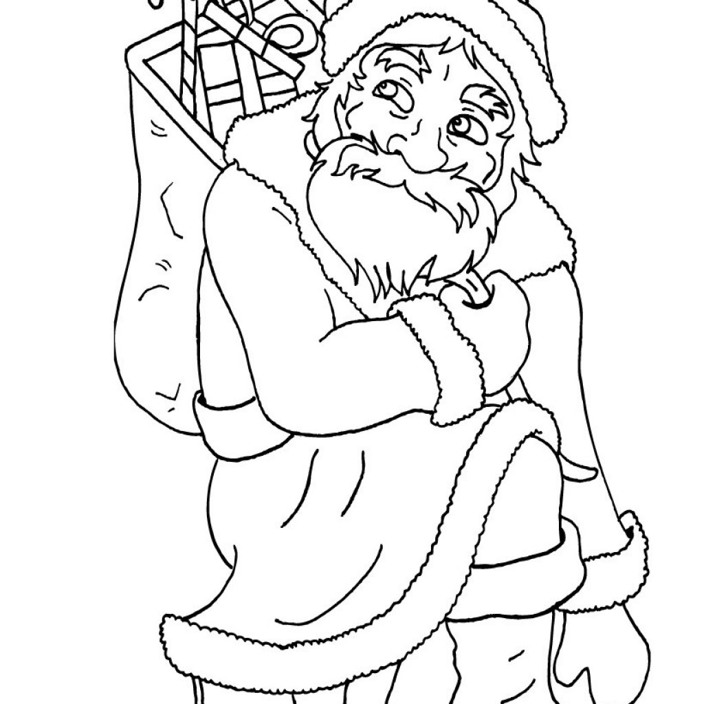Kneeling Santa Coloring Page With Kneels Down Pages Hellokids Com