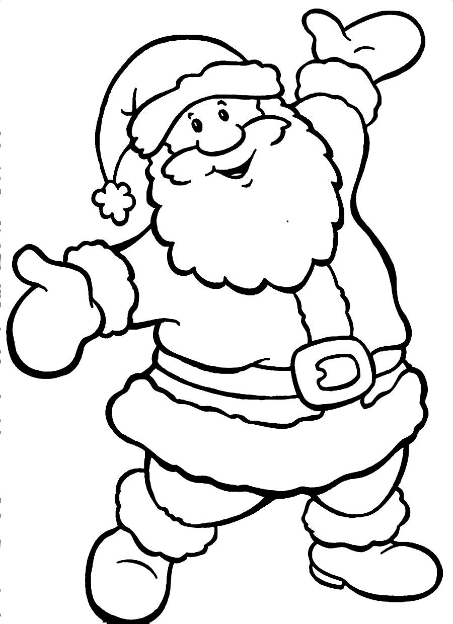 Large Santa Coloring Page With Awesome Cartoon Claus Pages Design Printable