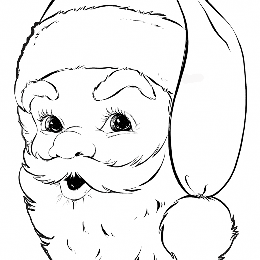 Large Santa Face Coloring Page With Claus Pages Free