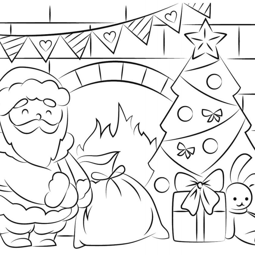 Large Santa Face Coloring Page With Free Pages And Printables For Kids