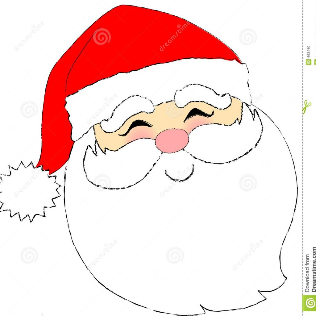Large Santa Face Coloring Page With Stock Photo Image 663460 CHRISTMAS COLORING PAGES