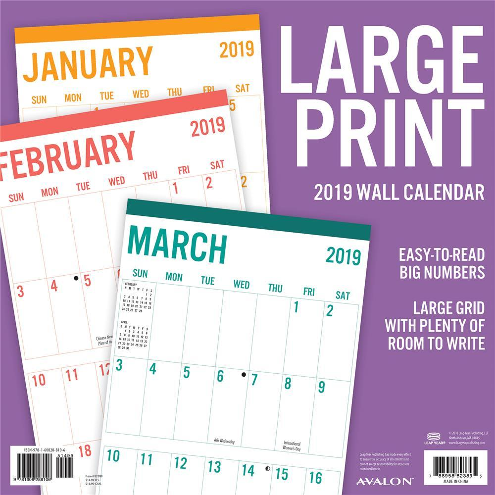 Leap Year Calendar 2019 With 9781608288106 Large Print Basic Wall Avalon By