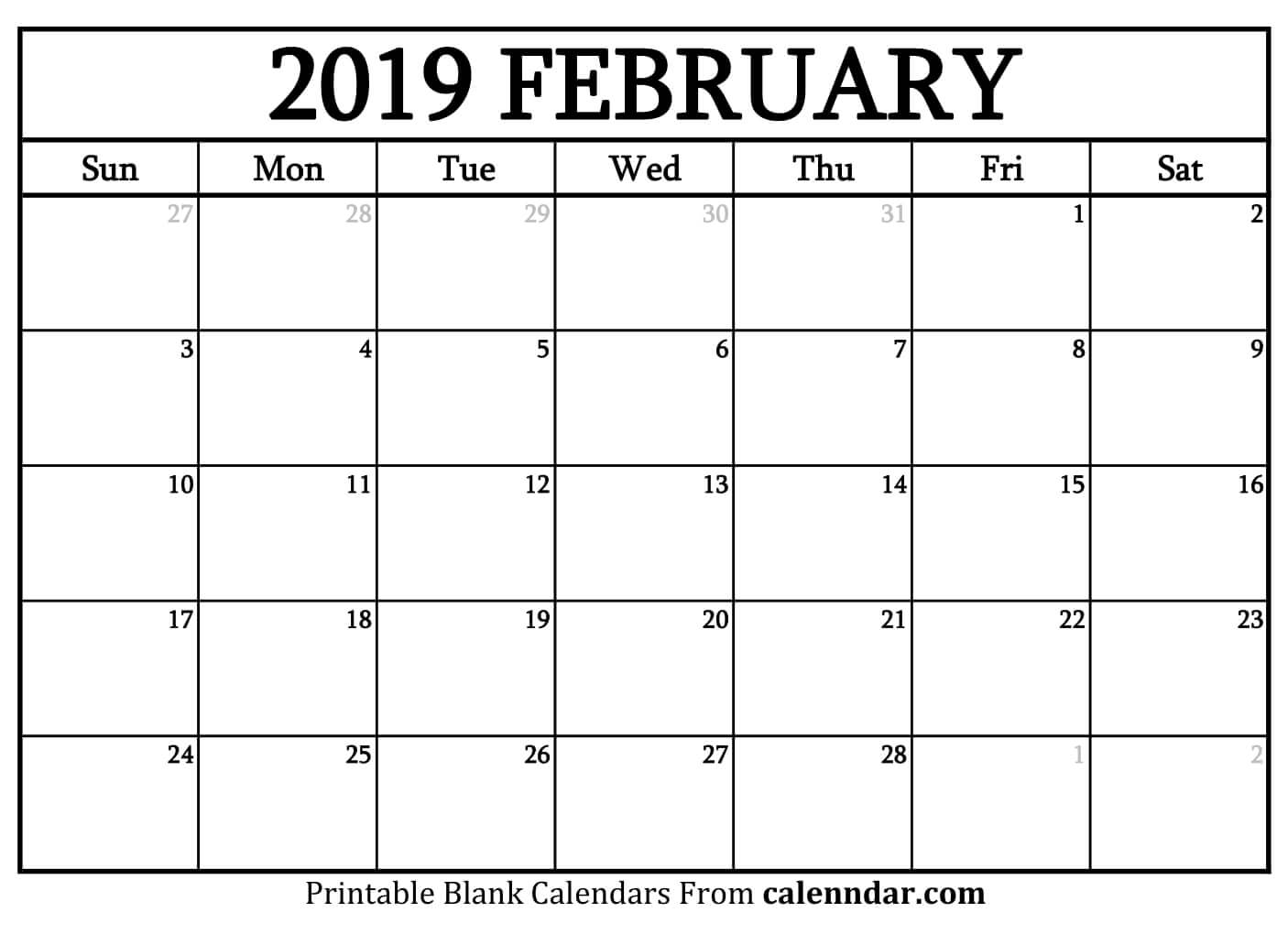 Leap Year Calendar 2019 With Blank February Templates Calenndar Com