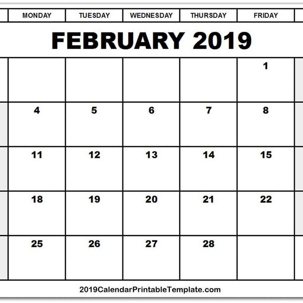 Leap Year Calendar 2019 With February Creative Printable