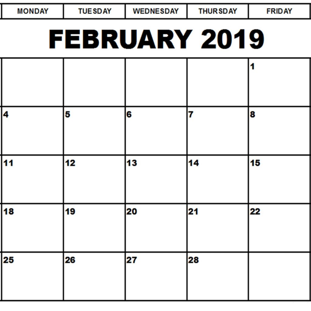 Leap Year Calendar 2019 With February Download