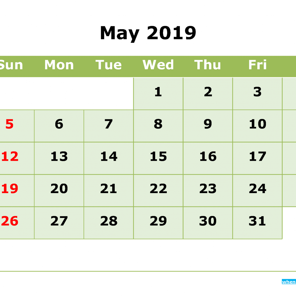 Leap Year Calendar 2019 With May Printable Month By Template 2018