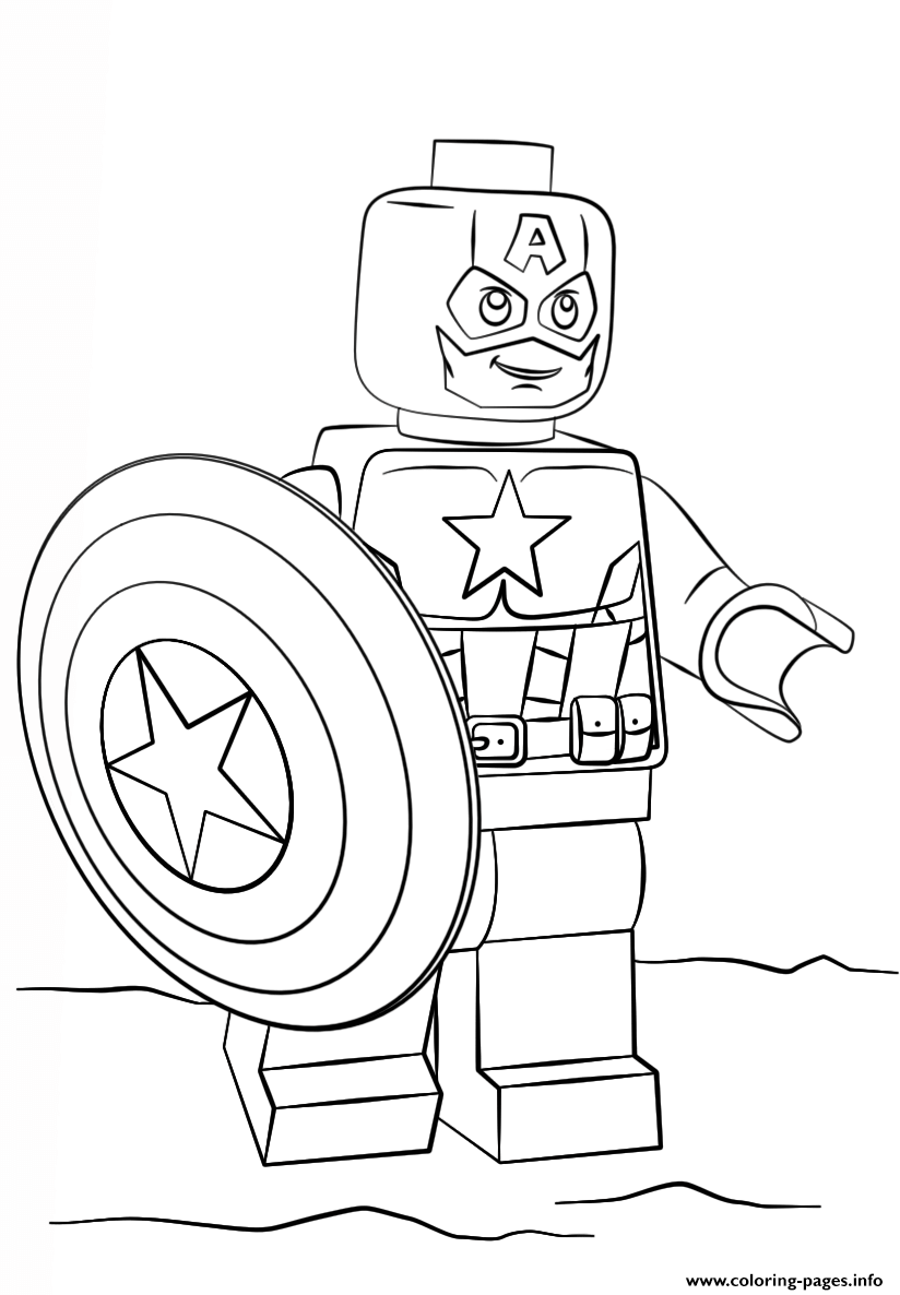 Lego Santa Coloring Pages With Captain America Printable