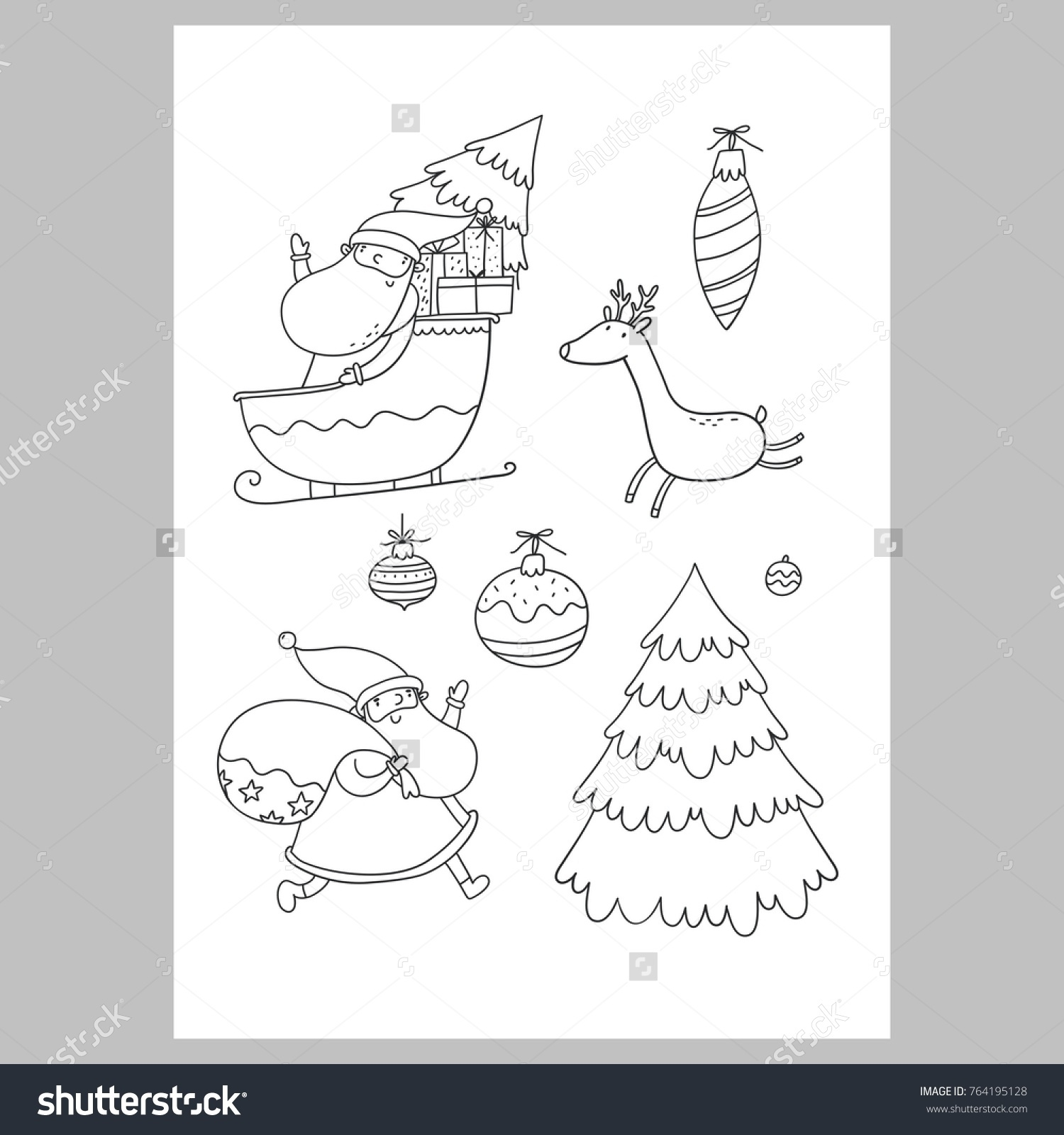 Letter To Santa Template Coloring Page With Christmas Wish List Stock Vector Royalty