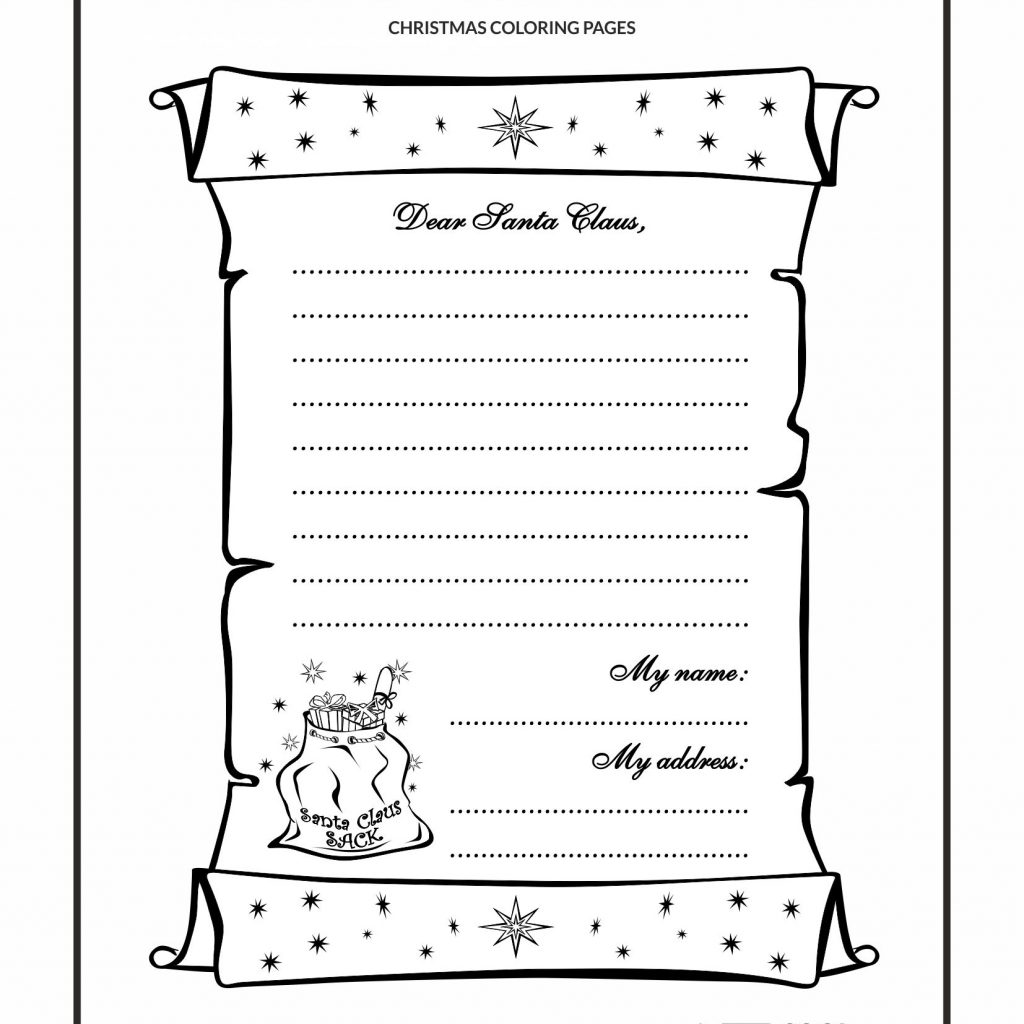 Letter To Santa Template Coloring Page With Cool Pages Claus No 1