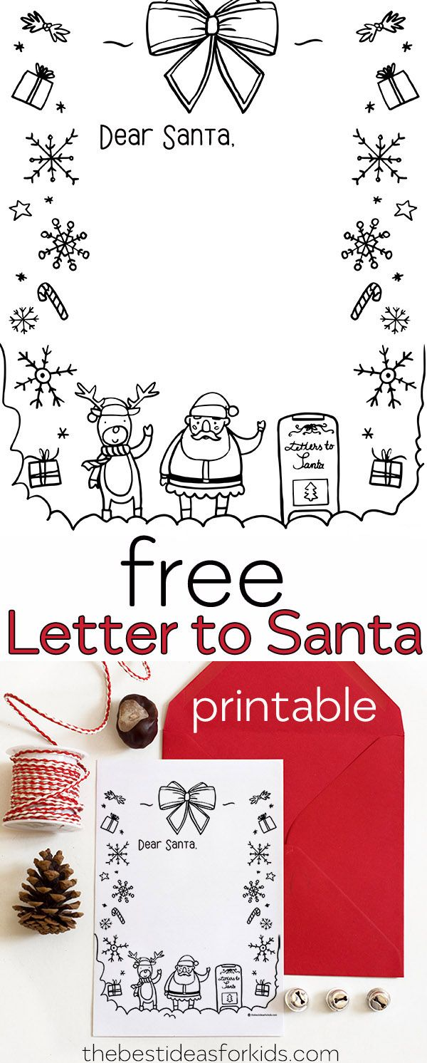 Letter To Santa Template Coloring Page With Kids Crafts Pinterest Christmas