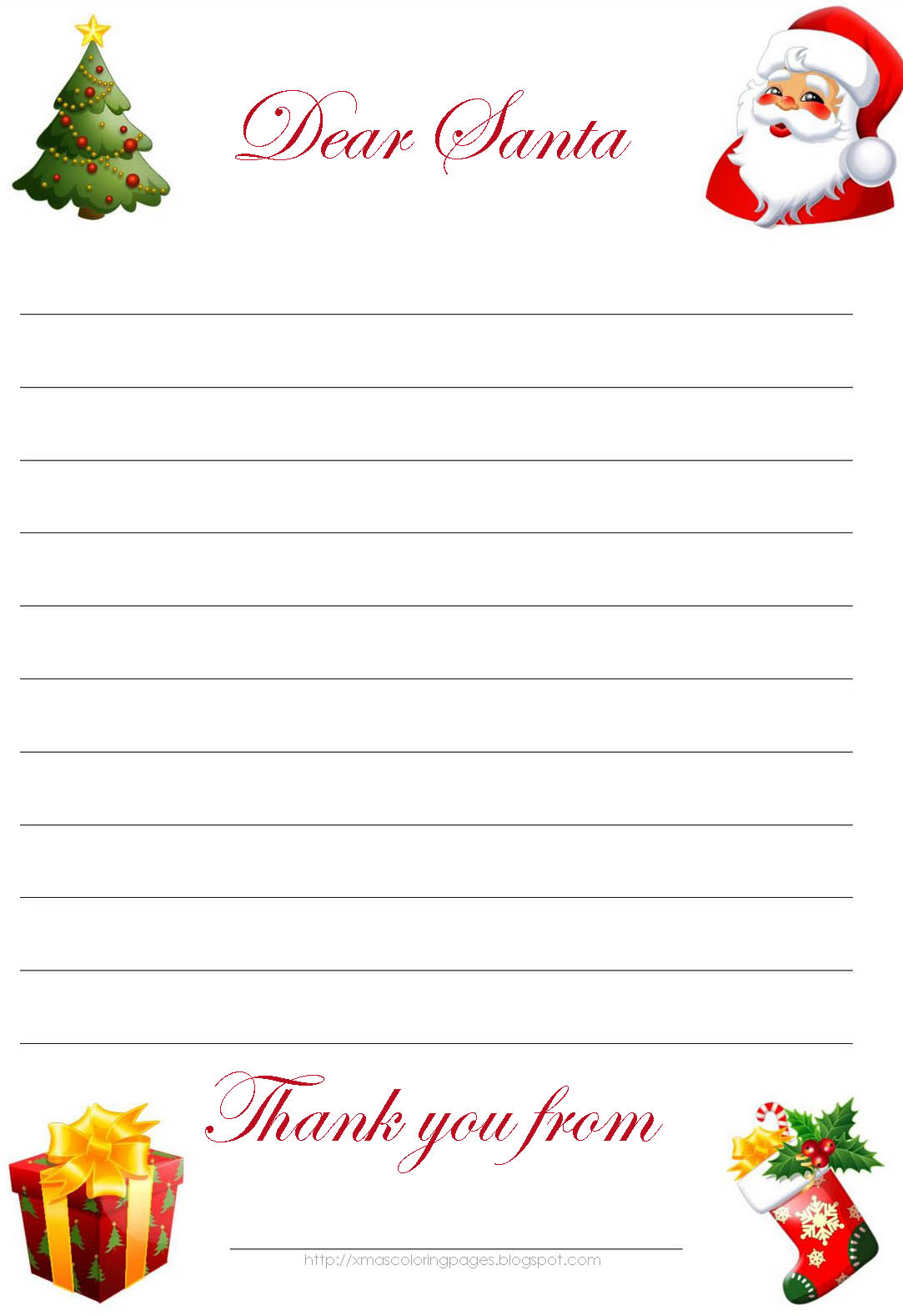 Letter To Santa Template Coloring Page With XMAS COLORING PAGES
