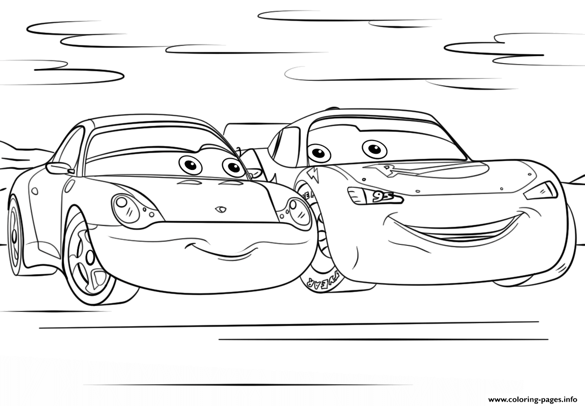 Lightning Mcqueen Christmas Coloring Pages With And Sally From Cars 3 Disney Printable