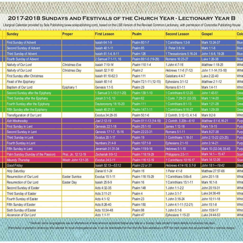 Liturgical Year Calendar 2019 With 2018 Graphics Template