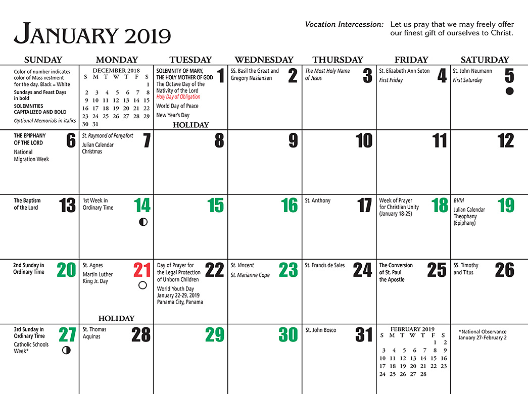 Liturgical Year Calendar 2019 With J S Paluch