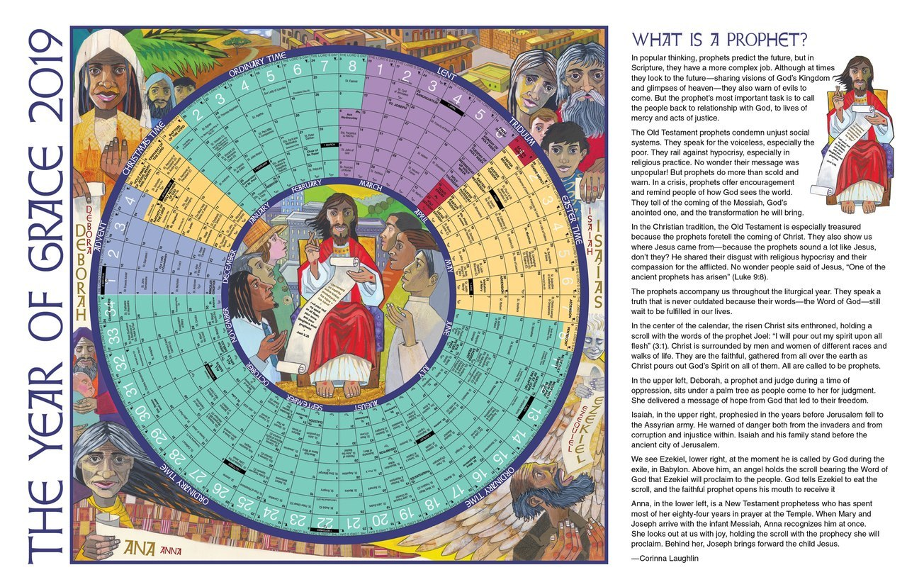 Liturgical Year Calendar 2019 With Of Grace 11 X 17 Laminated Circular