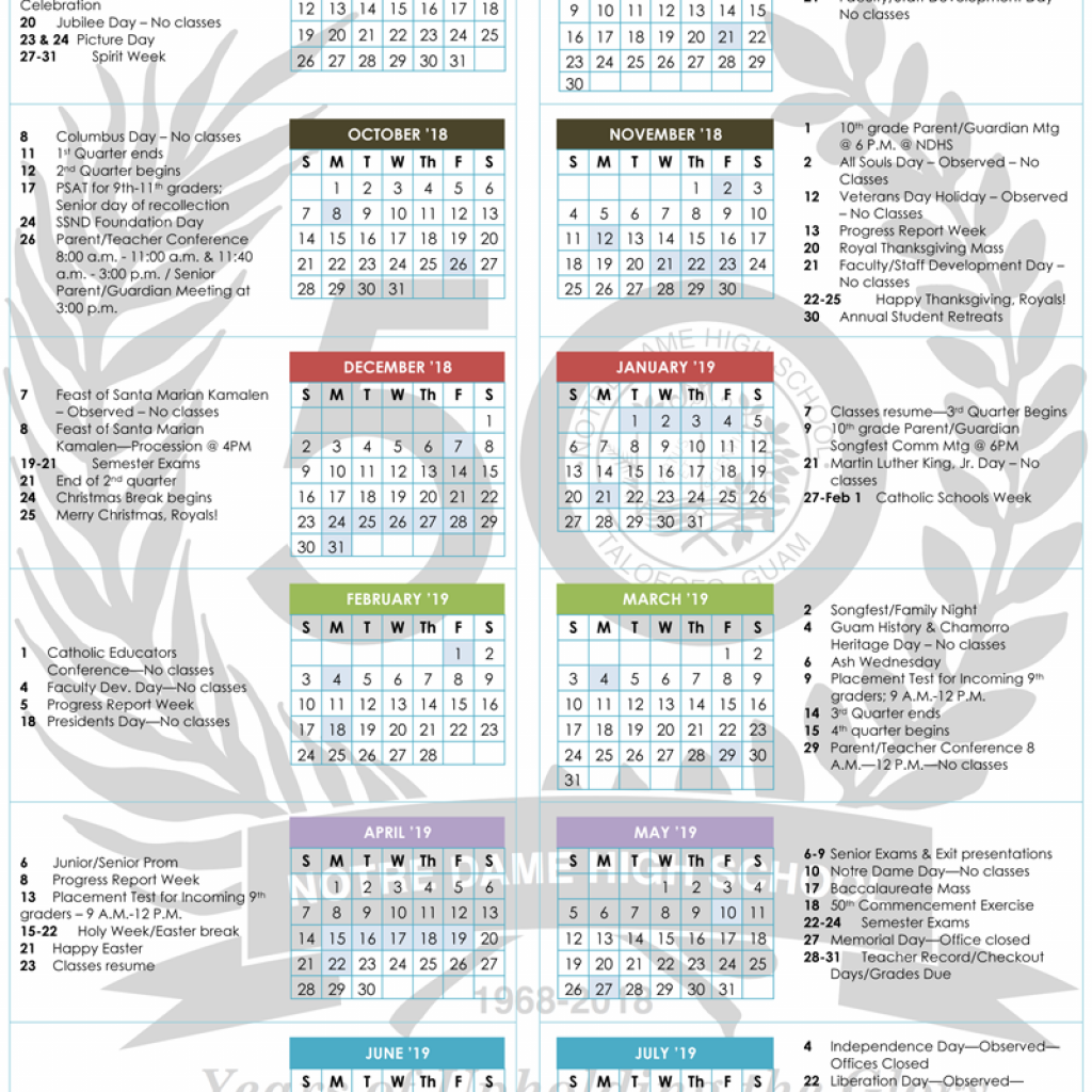 Liturgical Year Calendar 2019 With School 2018 Notre Dame High Inc NDHS