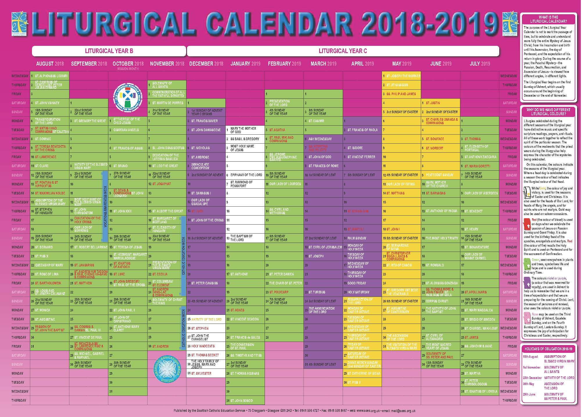 Liturgical Year Calendar 2019 With Scottish Catholic Education Service SCES
