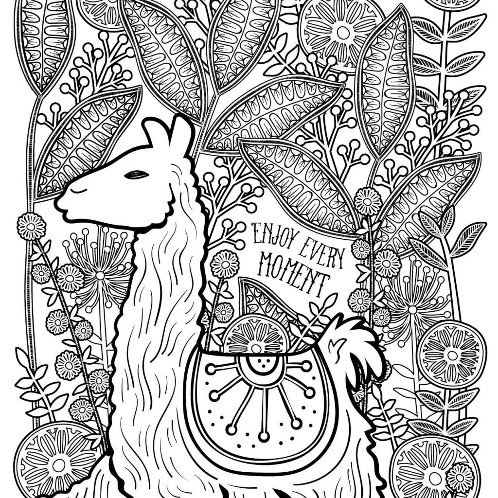 Llama Christmas Coloring Pages With Free And Printable Page By Karma Gifts Adult