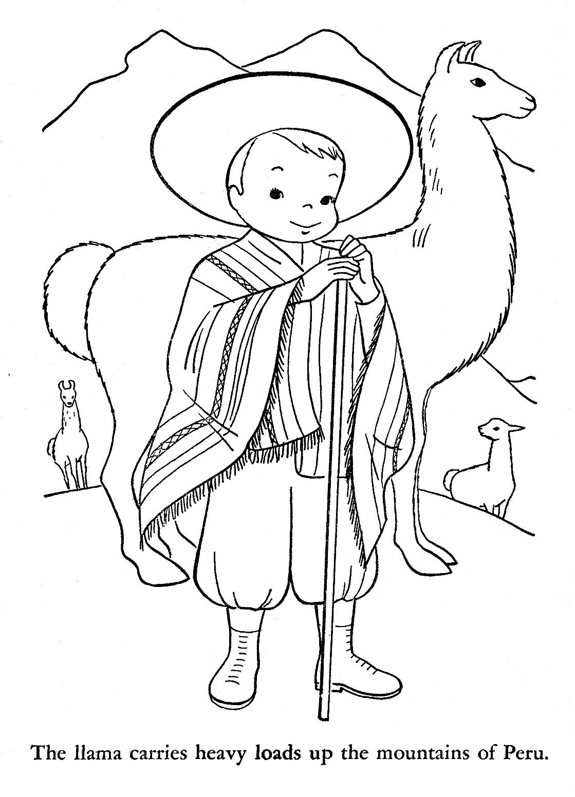 Llama Christmas Coloring Pages With How Do They Celebrate In Peru Printables
