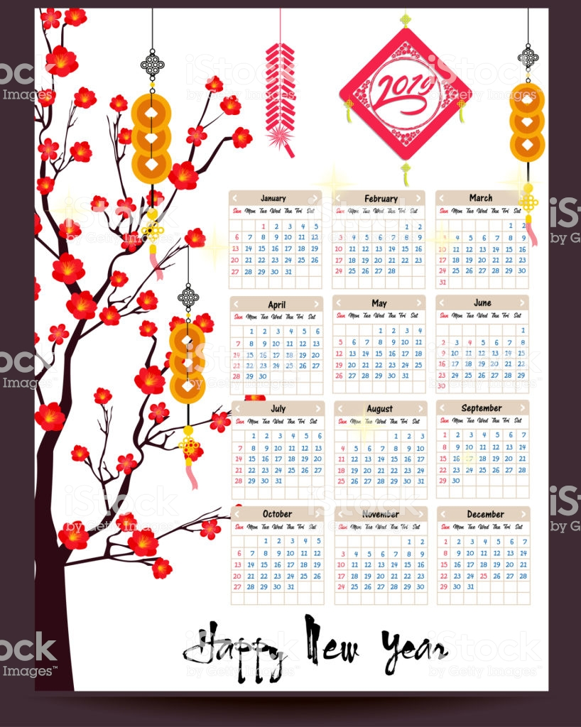 Lunar New Year 2019 Calendar With Chinese For Happy Of The
