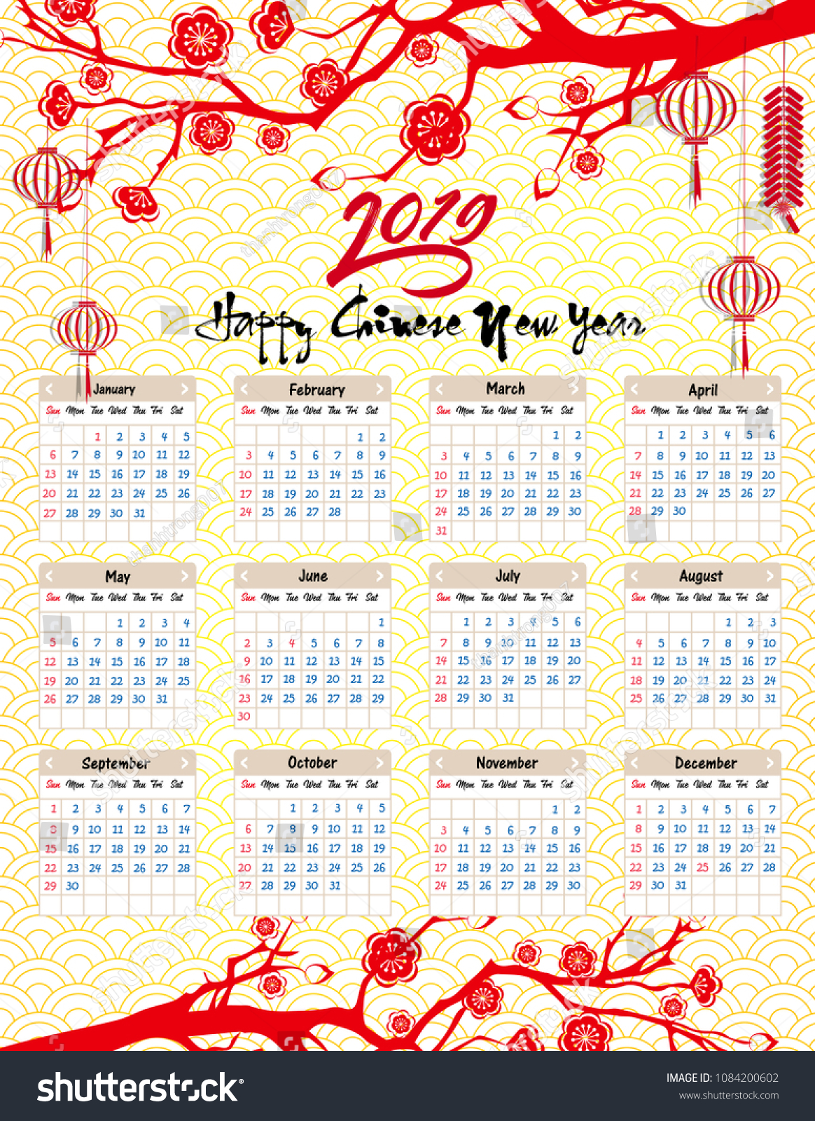 Lunar New Year 2019 Calendar With Chinese Happy Stock Vector Royalty Free
