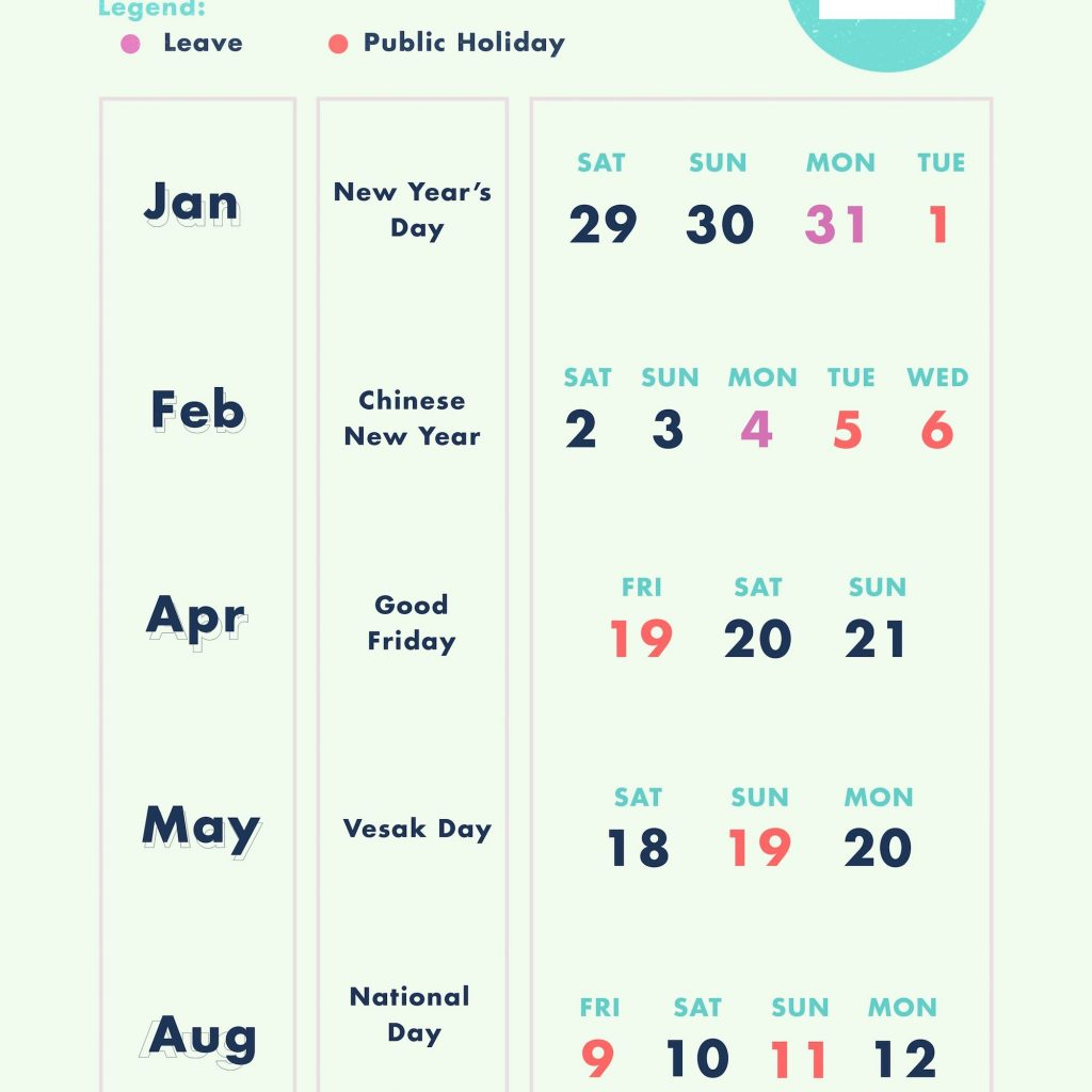 Lunar New Year 2019 Calendar With March Singapore Format Example
