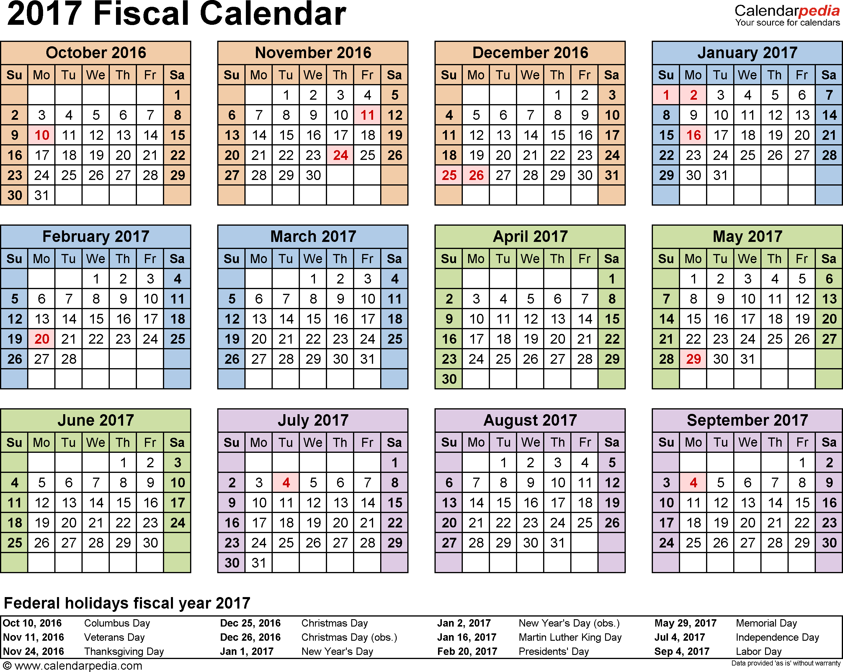 Medtronic Fiscal Year 2019 Calendar With Calendars 2017 As Free Printable Word Templates