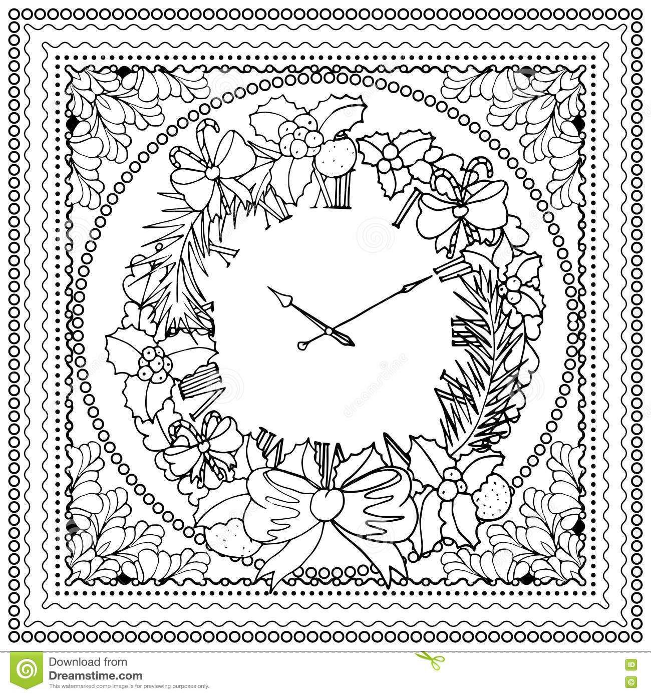 Merry Christmas And Happy New Year Coloring Pages With Black Vector Mono Color Illustration For