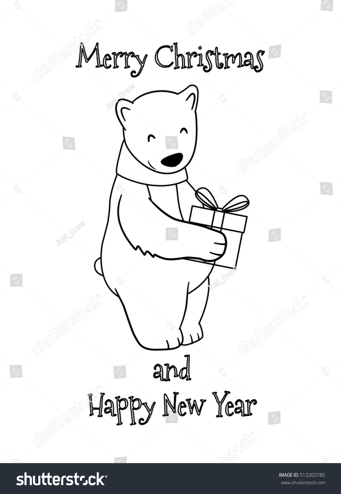 Merry Christmas And Happy New Year Coloring Pages With Cute Cartoon Polar Bear Gift Stock Vector Royalty Free