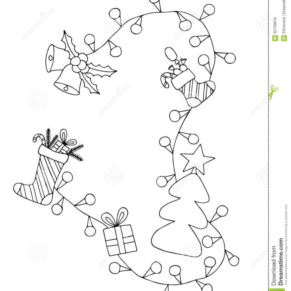 Merry Christmas And Happy New Year Coloring Pages With Greeting Decorative Frame Stock