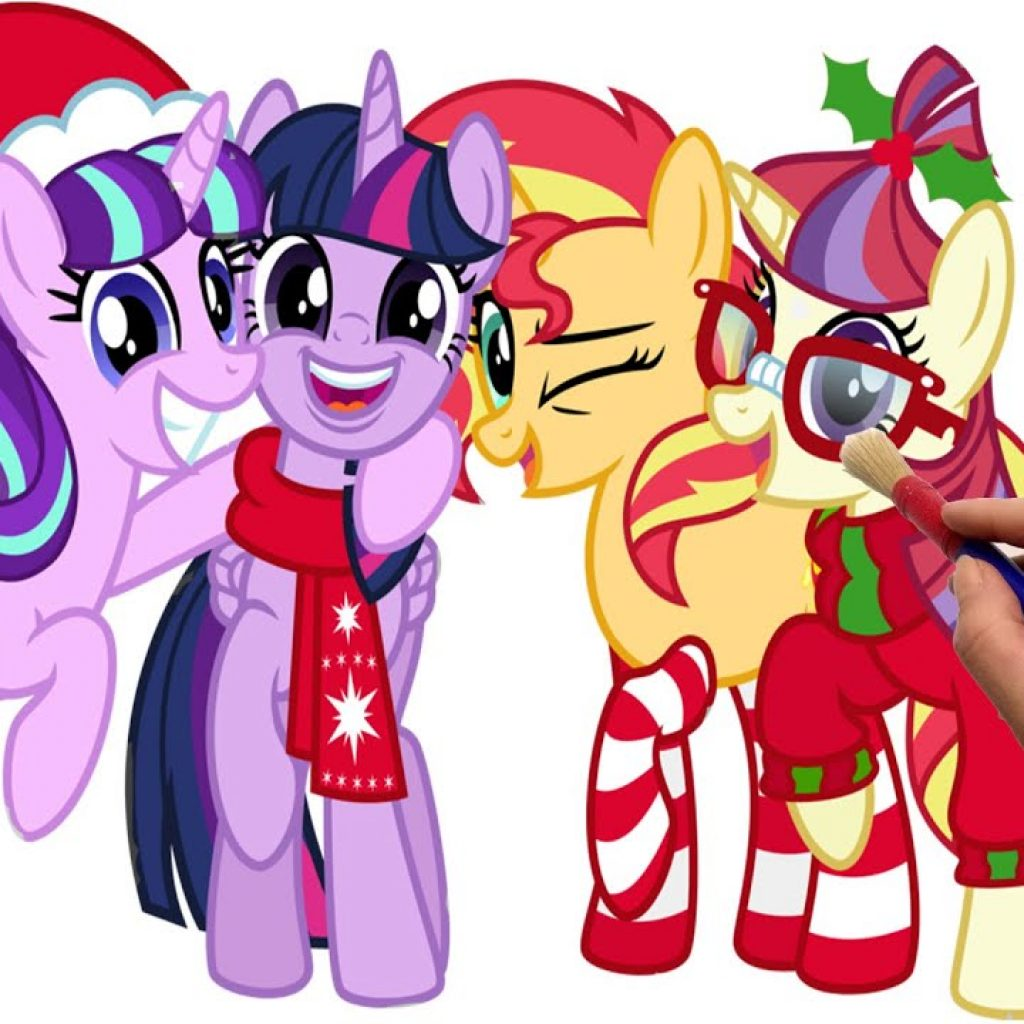 Merry Christmas And Happy New Year Coloring Pages With MLP Book Cartoon