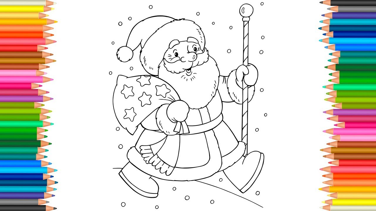 Merry Christmas And Happy New Year Coloring Pages With Santa Claus L