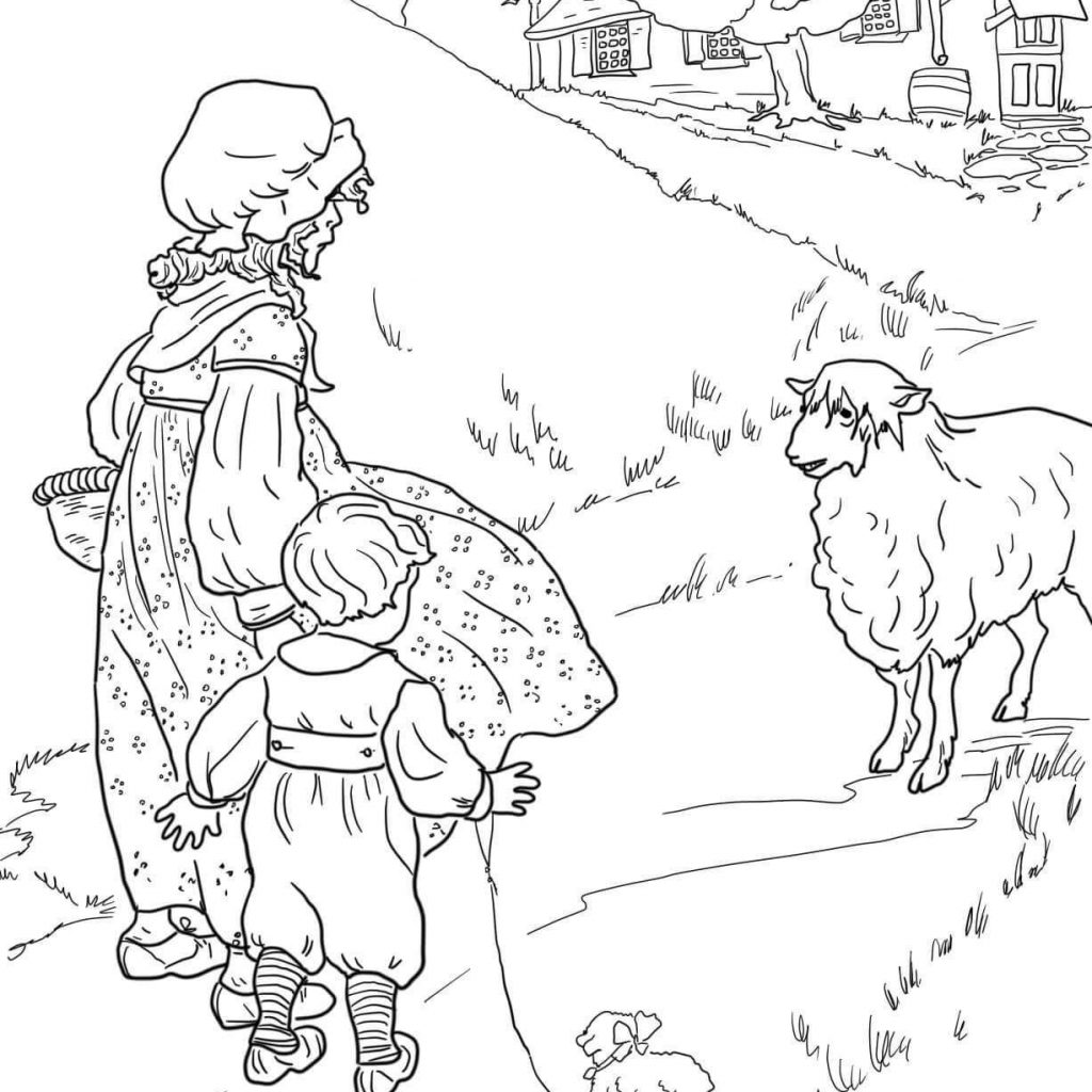 Merry Christmas And Happy New Year Coloring Pages With Sheep Face Page
