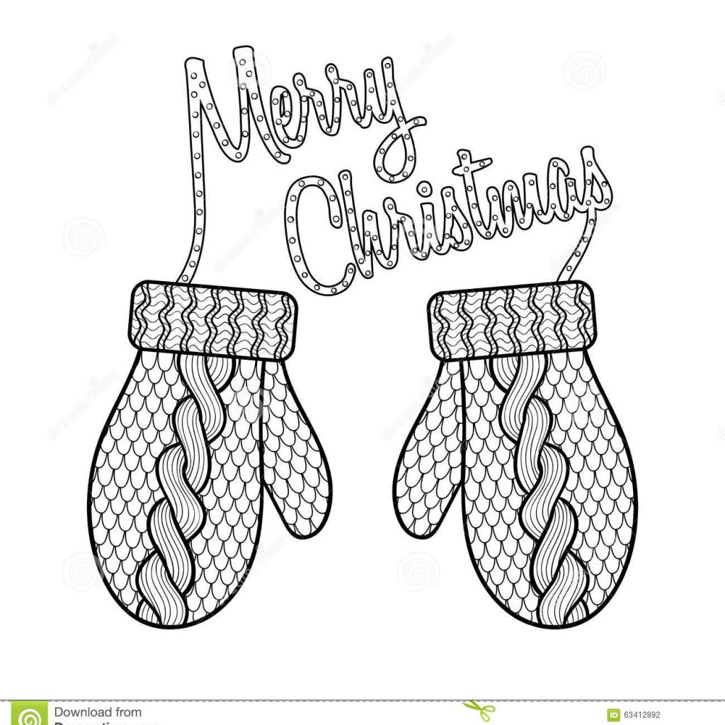 Merry Christmas Card Coloring Pages With Patterned Wishes And Knitted Mittens Stock