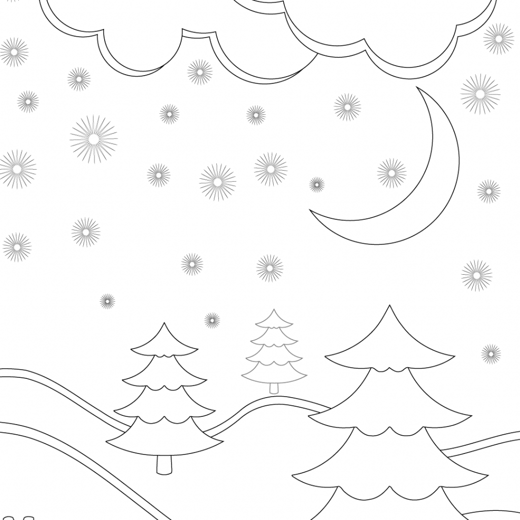 Merry Christmas Card Coloring Pages With Winter Landscape Page Free