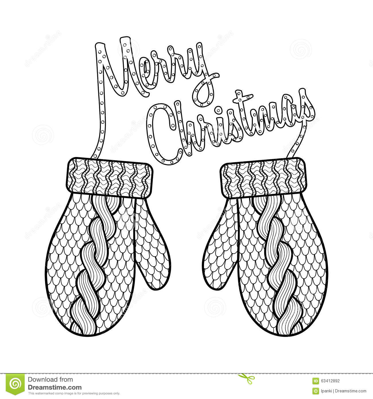 Merry Christmas Cards Coloring Pages With Card Patterned Wishes And Knitted Mittens Stock