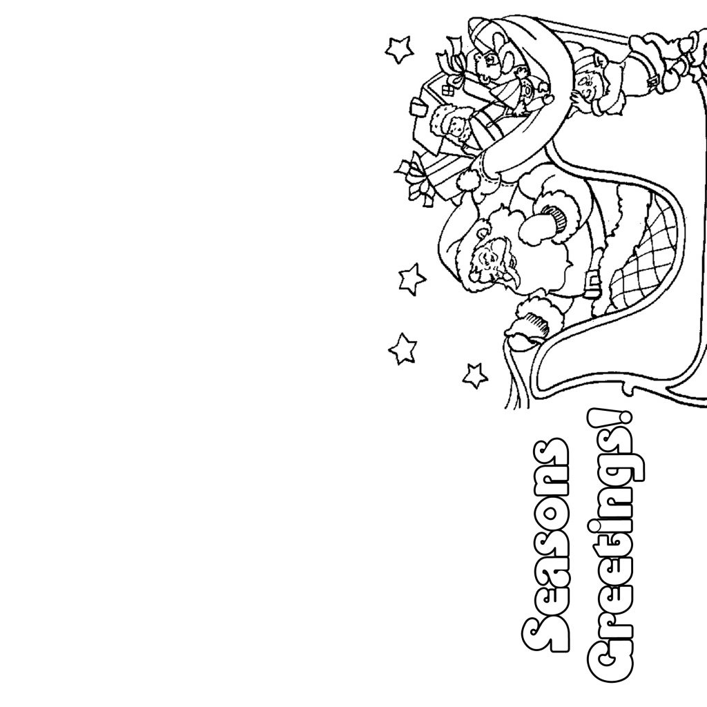 Merry Christmas Cards Coloring Pages With Card Templates To Color Reactorread Org