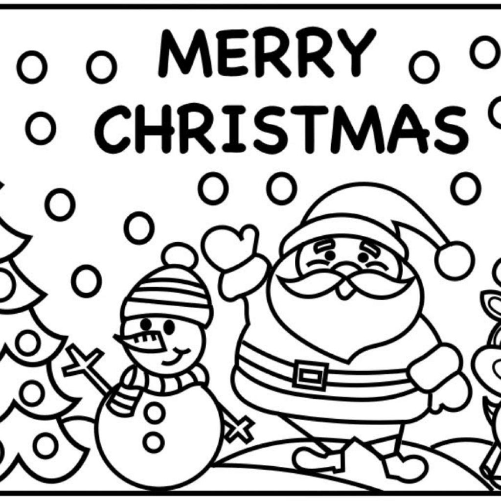 Merry Christmas Coloring In With MERRY CHRISTMAS EVERYONE Pages For Kids Santa