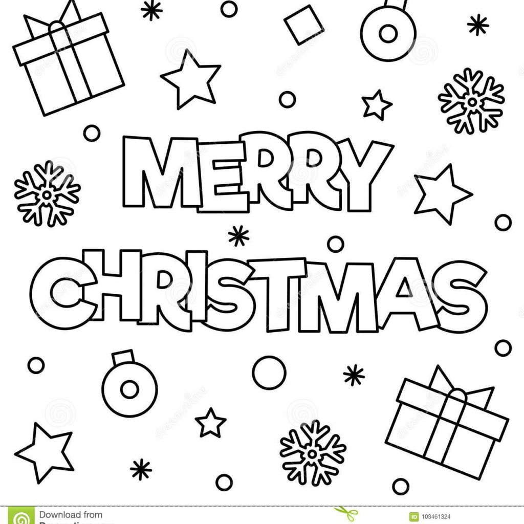 Merry Christmas Coloring In With Page Vector Illustration Stock